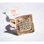 正品水晶钻方形戒指金银色 风靡欧韩 时尚潮人 生日礼物
