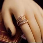 新款韩版时尚如影随形扭曲型满钻戒指环个性潮人夸张宽版礼物