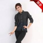 2014秋季韩国东大门时尚波点长袖拼接衬衫