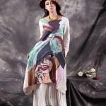琴哩原创民族风文艺女装2015春夏新款印花亚麻连衣裙流苏长裙