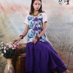 琴哩原创设计女装2015女巫重工棉麻多层摆长裙两用半身裙阿卡