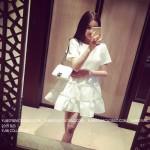 夏季韩版圆领层层镂空纯色女装高腰短袖蛋糕裙
