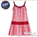 纯棉条纹连衣裙 外贸GAP小女孩吊带裙