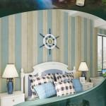地中海蓝色复古竖条纹壁纸温馨卧室客厅电视背景墙