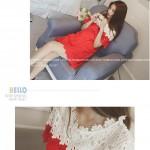 韩系甜美洋气可爱红白拼色短袖钩花镂空气质连衣裙女装