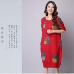 棉麻文艺印花长袖宽松连衣裙